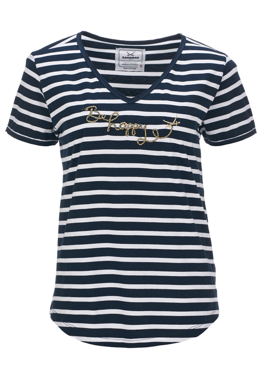 Damen T-Shirt BE HAPPY , white/ navy, XL