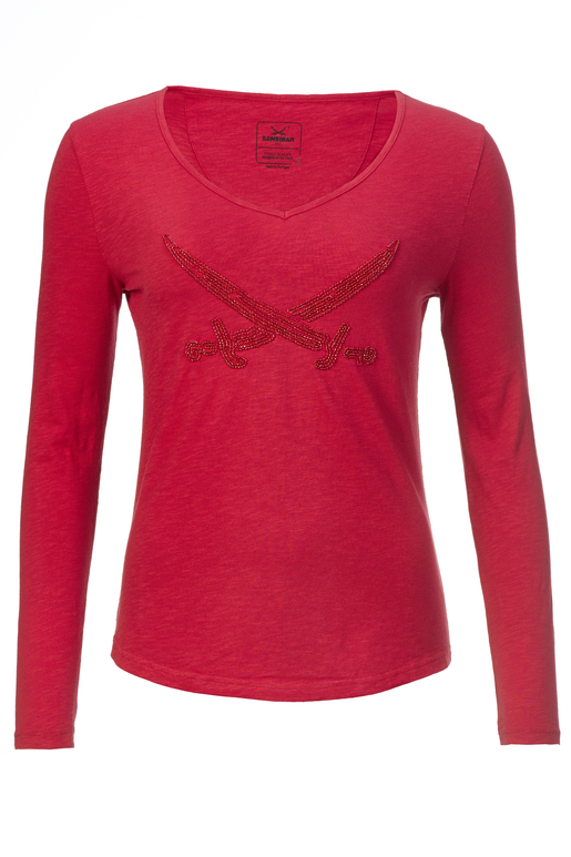 Damen Longsleeve PEARLS , red, XXL