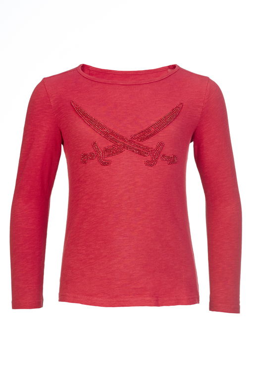 Girls Longsleeve PEARLS , red, 92/98