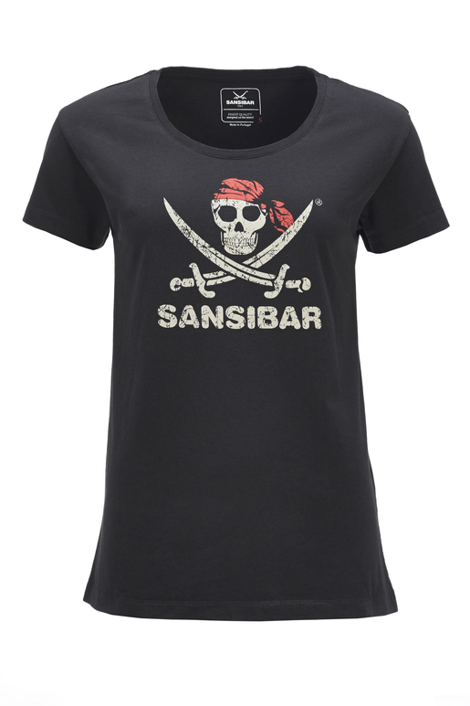 Damen T-Shirt SKULL , BLACK, XXS