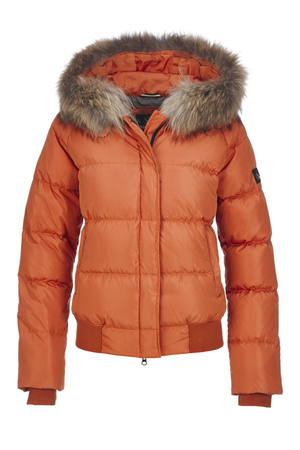 Damen Daunenjacke BEYONCE Pelz , ORANGE, M