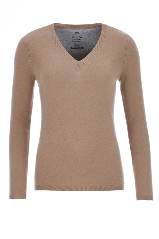 FTC Damen V-Neck Basic , BROWN, L
