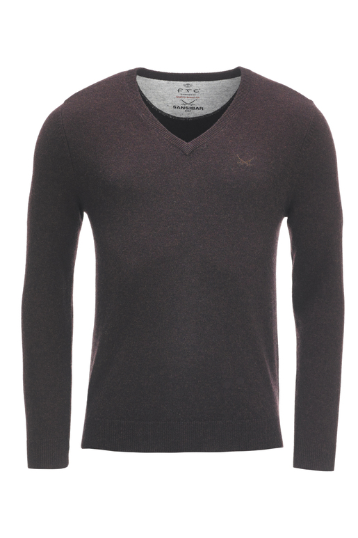FTC Herren V-Neck Basic , CHOCOLATE, S