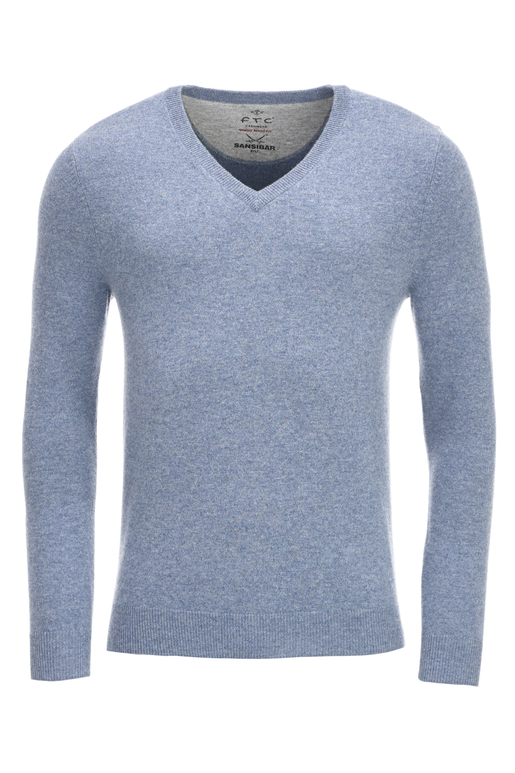 FTC Herren V-Neck Basic , AQUA BLUE, XL