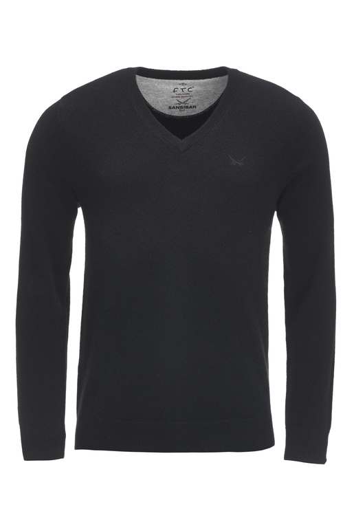FTC Herren V-Neck Basic , BLACK, M