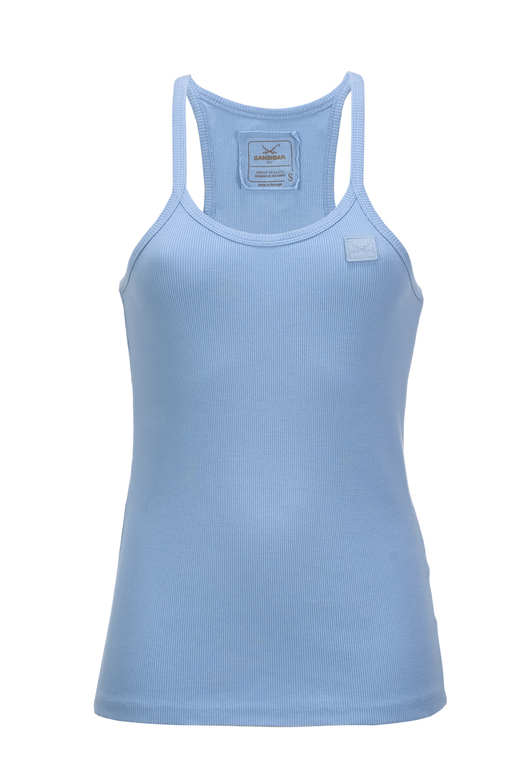 Damen Top BASIC , ICE BLUE, XXS