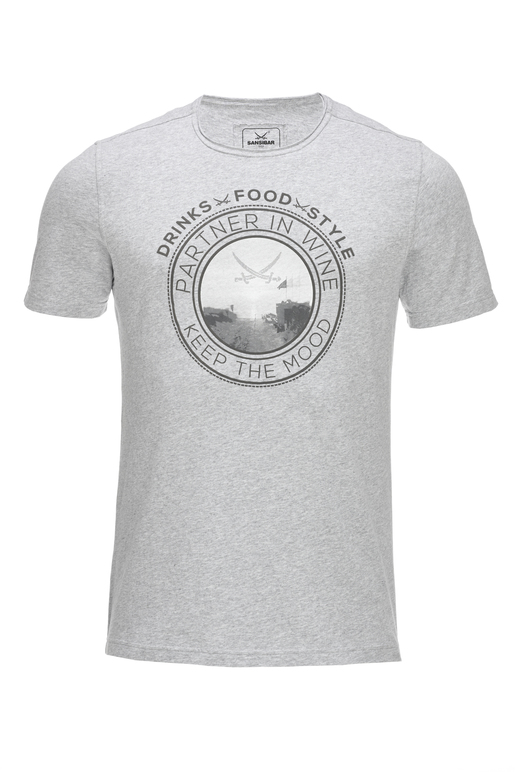 Herren T-Shirt DRINKS FOOD STYLE , SILVERMELANGE, XS