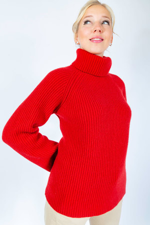 Damen Cashmere Pullover , RED, ONE SIZE