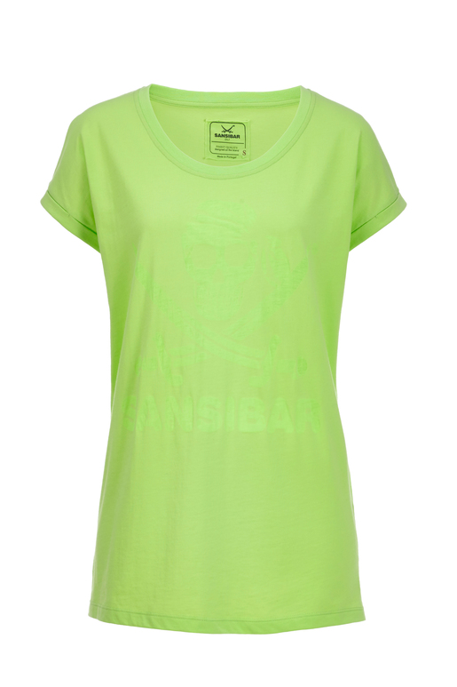 Damen T-Shirt DEVORÈ SKULL , NEON GREEN, S