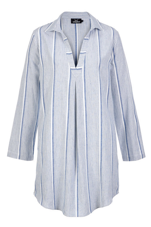 Damen Blusenkleid STRIPES , WHITE / BLUE, XXL