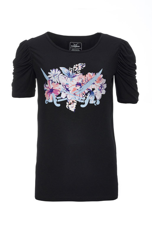 Damen T-Shirt FLOWER , BLACK, XS