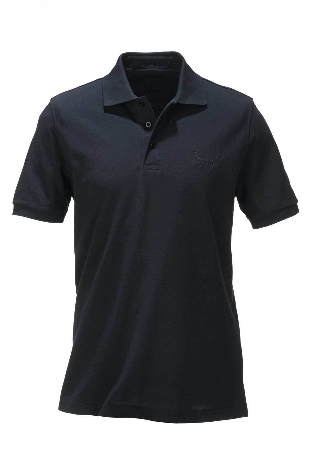Herren Poloshirt Pima Cotton kurzarm LEISE, Black, Gr. XL
