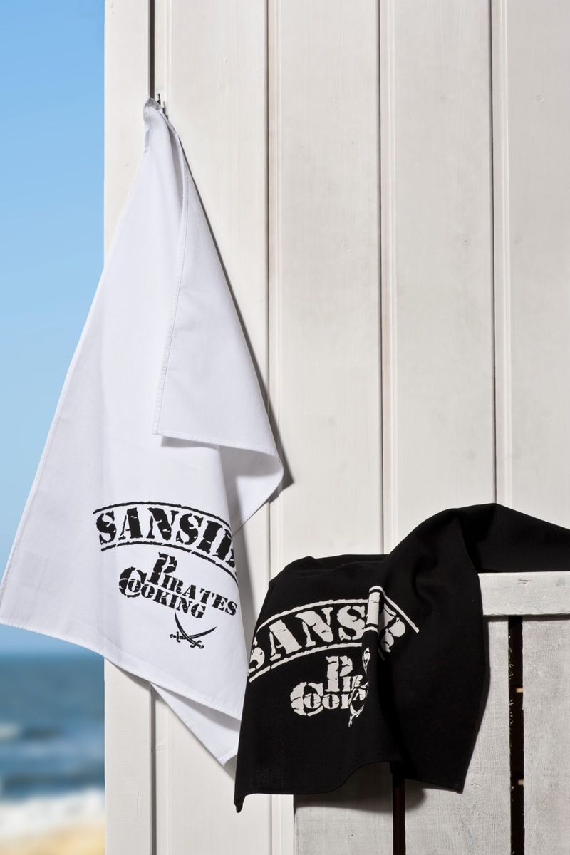 "Geschirrhandtuch ""Sansibar Pirates Cooking"" 2er Set 0211 black/ white , Gr. one size"