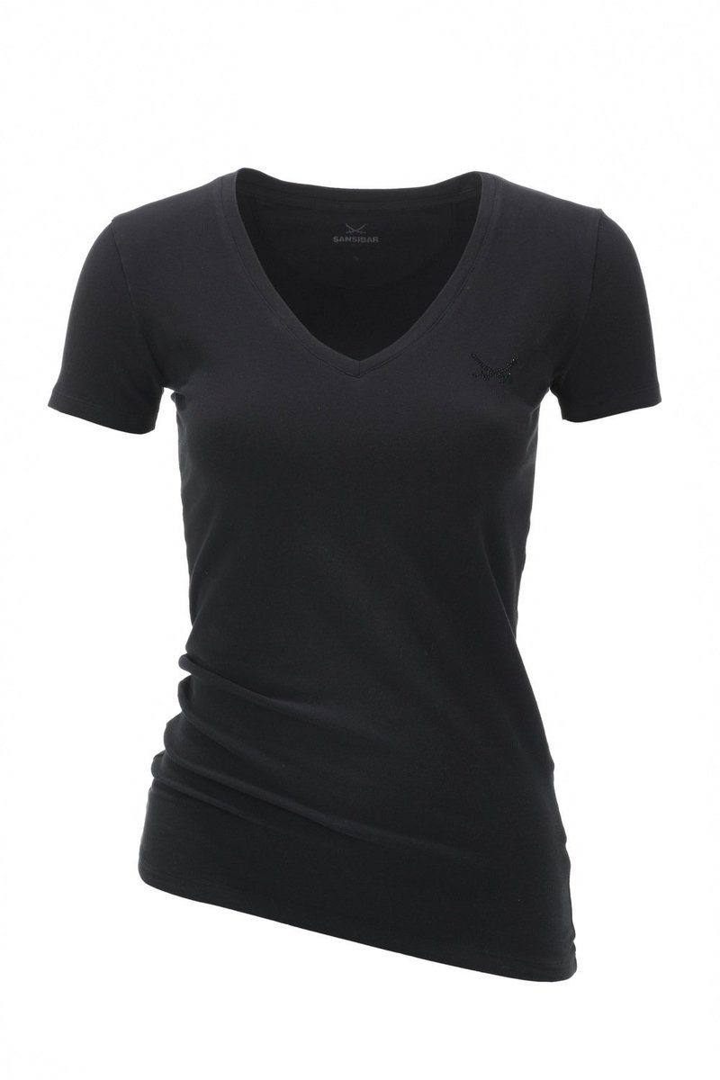 Damen T-Shirt V-Ausschnitt BASIC 0113, Black, Gr. XXS