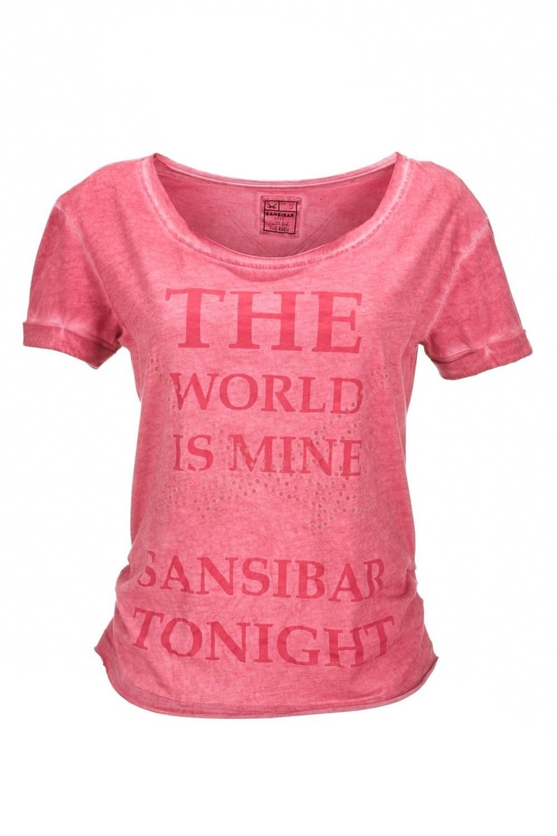 Damen T-Shirt THE WORLD IS MINE 0113, Camelie, Gr. XXL