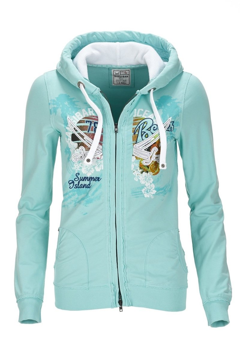 differently 9bf26 c277a Damen Sweatjacke BEACH, Aqua sky, Gr. XXL