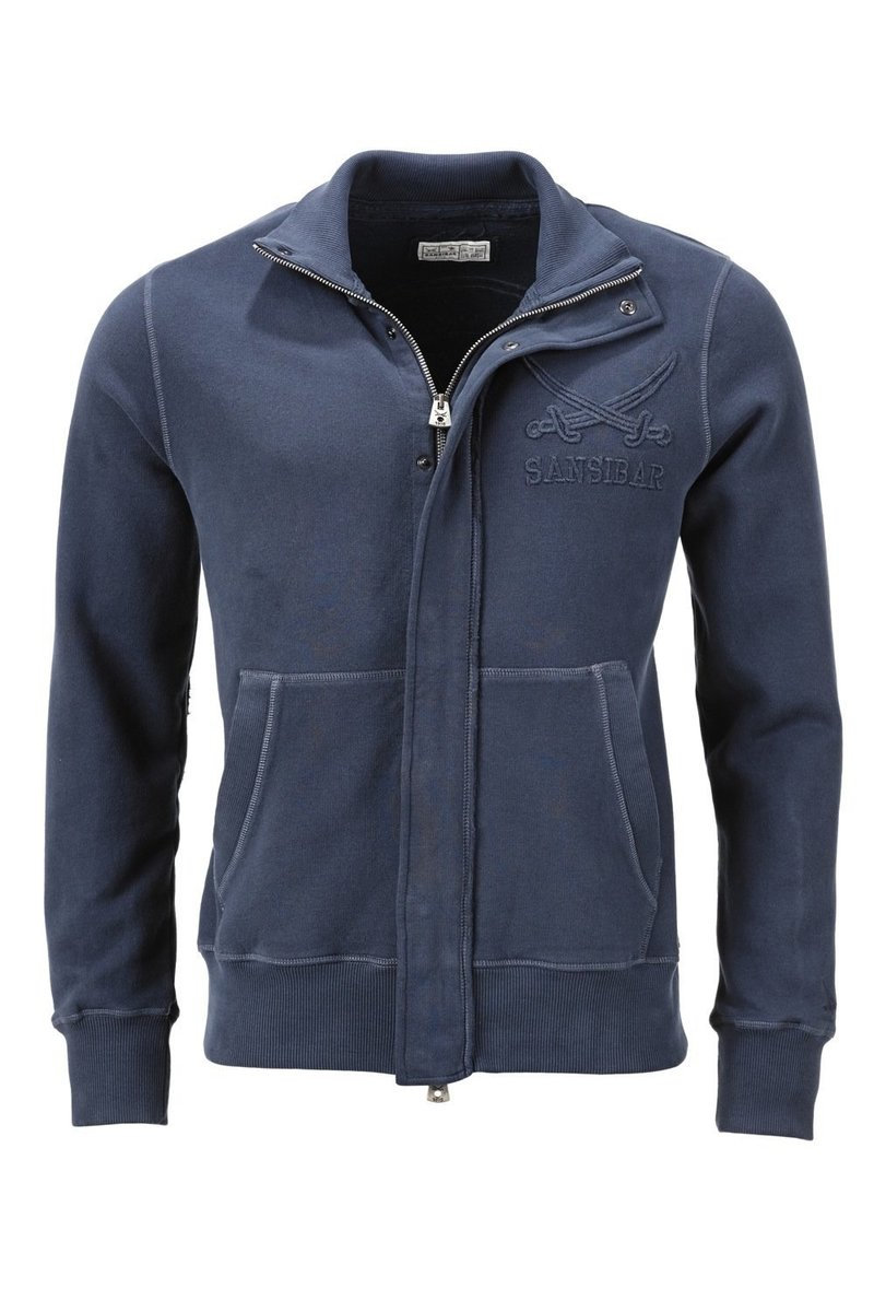 Herren Sweatjacke Stehkragen WELLNESS, Midnight blue , Gr. XXL