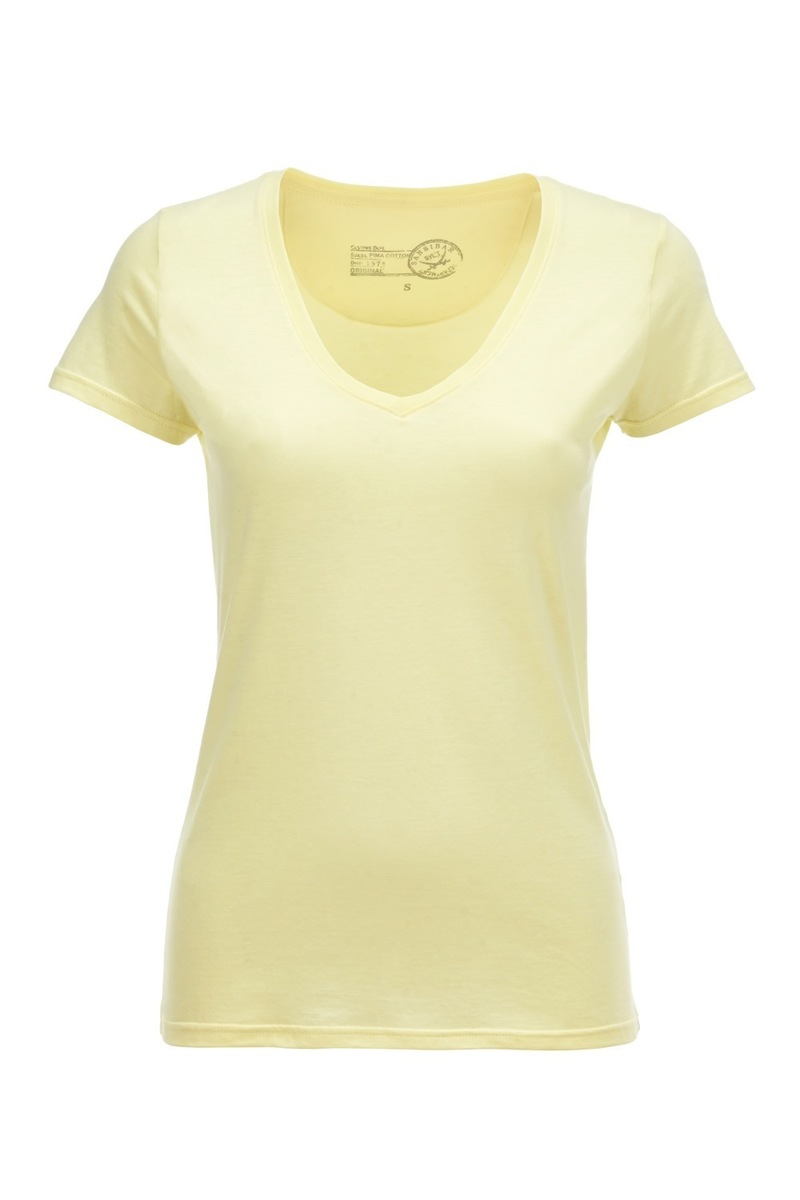 Damen T-Shirt Pima Cotton , Sorbet yellow , Gr. XS