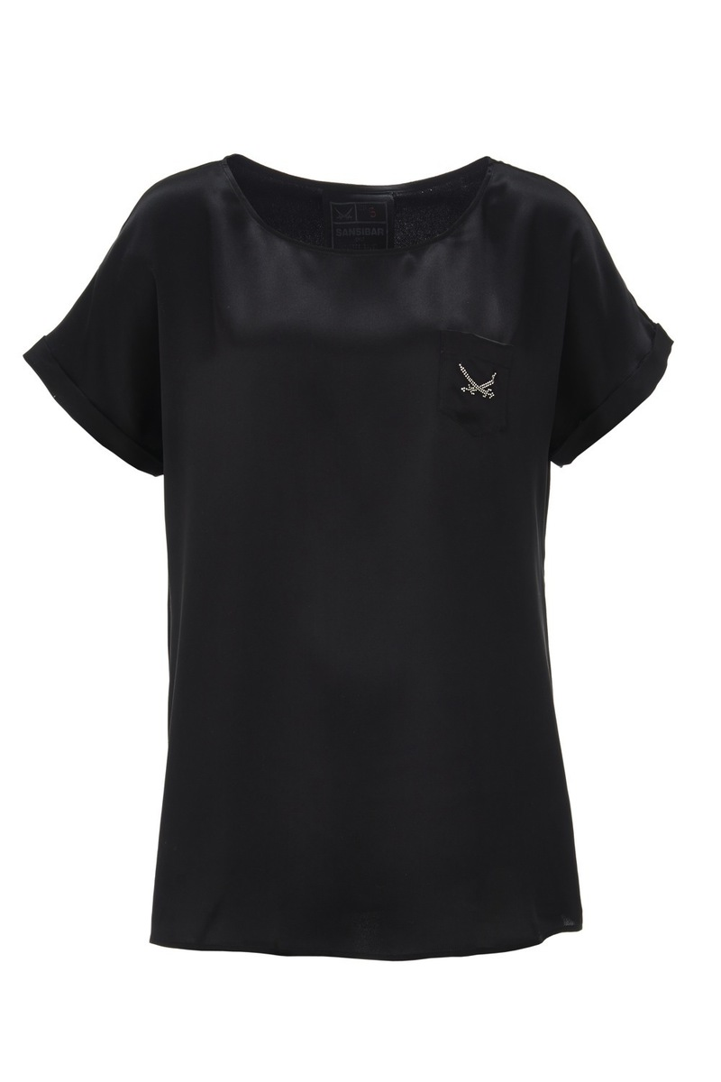 Damen Seiden T-Shirt, Black, Gr. XS
